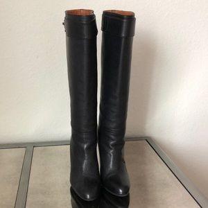 Lanvin Black Knee High Leather Slip-On Boots 35.5